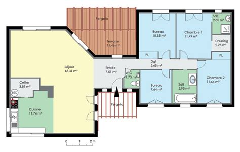 plan de maison contemporaine de plain pied plan maison l plan de maison