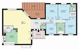 plan de maison contemporaine de plain pied plan maison With plan de maison 200m2