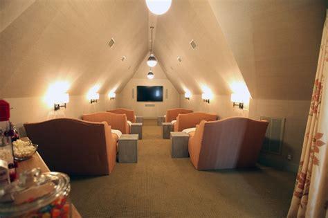 attic tv room attic movie room cottage media room urban grace interiors