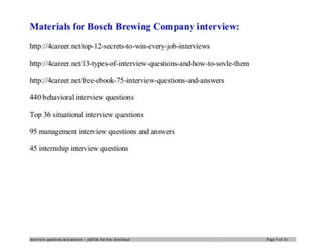 Bosch brewing company interview questions and answers