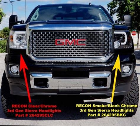 recon part bkc smoked projector headlights gmc sierra denali   smooth oled
