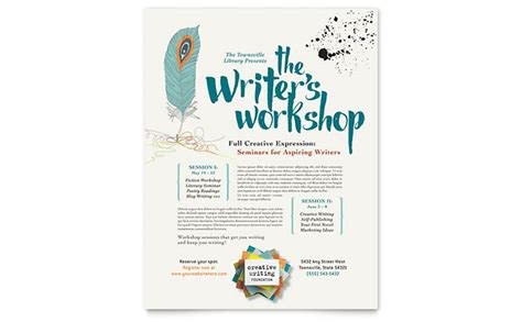 writers workshop flyer template design