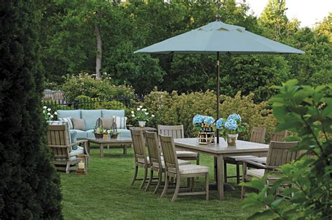 outdoor furniture set with patio umbrella in wrought