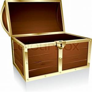 Illustration of a wooden treasure chest with nothing in it