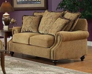Beige, Fabric, Classic, Living, Room, Sofa, U0026, Loveseat, Set