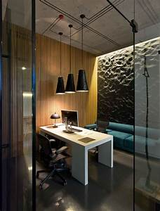 Modern minimalist office design with high ceiling and