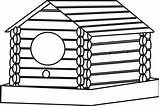 Cabin Coloring Log Pages Woods Cliparts Birdhouse Template Clipart Clip Sketch Clipartbest sketch template