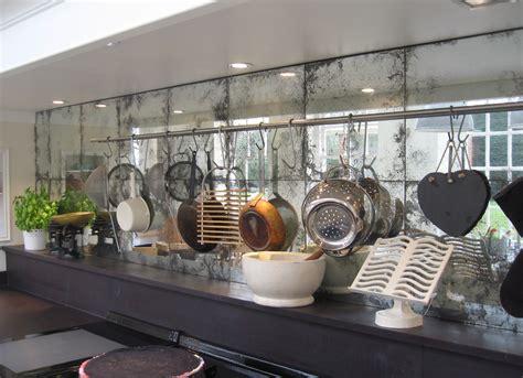 antique mirror backplash touches modern feature