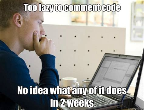 Too Lazy Meme - too lazy to comment code no idea what any of it does in 2 weeks programmer quickmeme