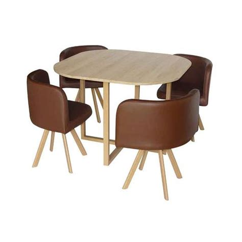 table cuisine encastrable table avec 4 chaises encastrables marron 100x100x75 cm