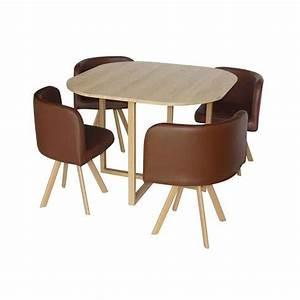 Table Chaise Encastrable : table avec 4 chaises encastrables marron 100x100x75 cm ~ Teatrodelosmanantiales.com Idées de Décoration