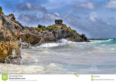 Mayan Ruin At Tulum Mexico Royalty Free Stock Photo