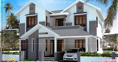 2200 sq modern sloping roof house with cost home