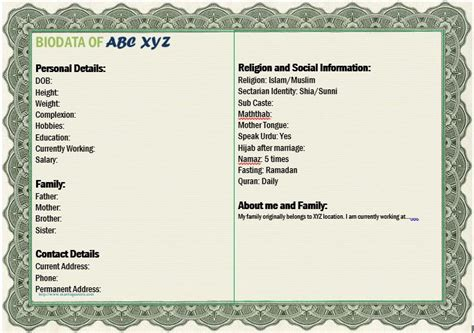 Biodata for marriage proposal for boy