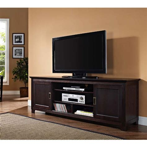 70 inch tv stand walker edison solid wood 70 inch tv stand with sliding doors espresso w70c25sdes