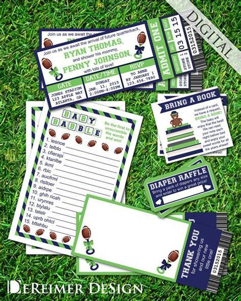 sports ticket baby boy shower invitation  star baby