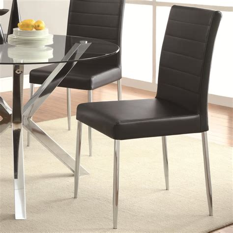 coaster vance contemporary dining chair with black vinyl