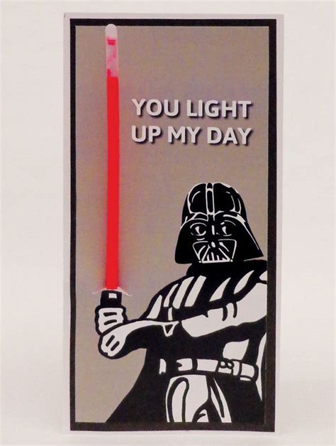 star wars darth vader glow stick funny illustrated card