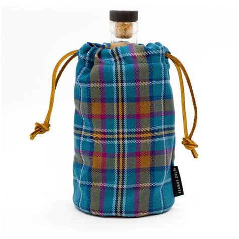 leather monogrammed cian tartan whiskeywine bottle bag