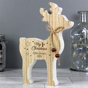 Personalised, U20181st, Christmas, U2019, Rustic, Wooden, Reindeer, Decoration