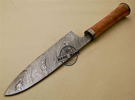 damascus knife kitchen chef custom steel handmade cow handle