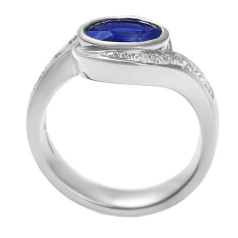 Blue Sapphire 1 44ct platinum engagement ring with 1 44ct blue sapphire and
