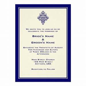 A7 cream royal blue simple wedding invitations zazzle for Royal blue and cream wedding invitations