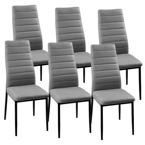 chaises lot de 6 lot de 6 chaises gris iris achat vente chaise gris cdiscount