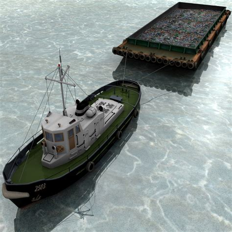 Tugboat And Barge by Tugboat Tug Barge Boat 3d 3ds