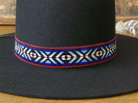 native american beaded hat band   eye   medicine man pattern   shades  blue