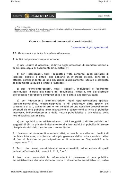 dispense diritto amministrativo accesso atti amministrativi dispense