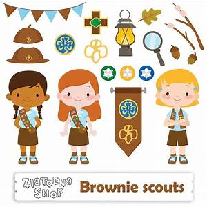 Brownie Girl Scout Clipart Scout Girl Clip art Camping Digital
