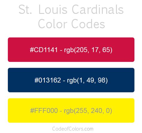 st louis cardinals colors hex  rgb color codes