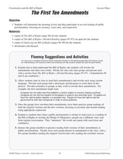 The First Ten Amendments 5th  8th Grade Worksheet  Lesson Planet
