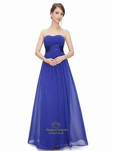 royal blue chiffon strapless long bridesmaid dress for With royal blue dresses for wedding