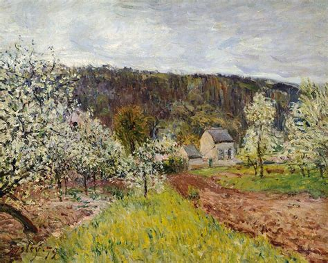Artwork Home Decor by Rainy Spring Near Paris Painting By Alfred Sisley