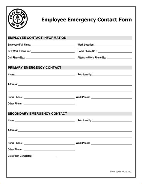 Contact Form Template Emergency Contact Form Template Sarahepps