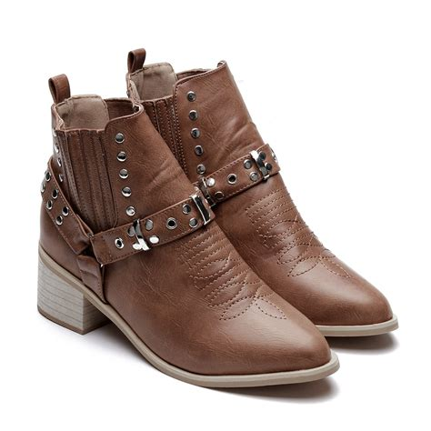 light brown boots light brown studded block heel ankle boots us 61 95 yoins