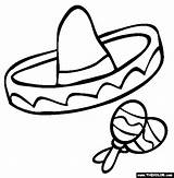 Sombrero Coloring Mayo Cinco Spanish Printable Pages Hat Mexican Clipart Clip Fiesta Class Maracas Crafts Template Hats Sheet Props Preschool sketch template