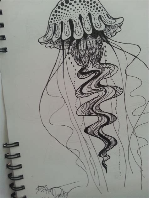 Jellyfish Done With Microns Drawing