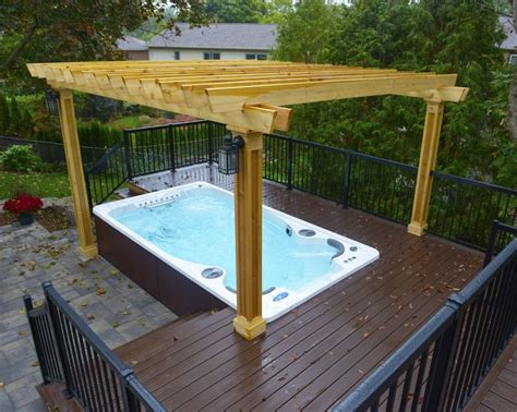 hydropool  cleaning swim spa installed   deck