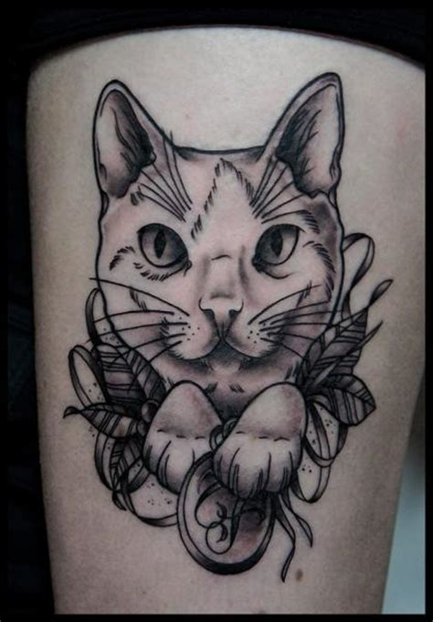 leg cat tattoo  white rabbit tattoo
