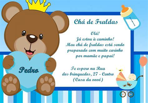 Convite Chá De Fralda Ursinho Príncipe Frete Grátis No