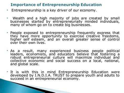 importance  entrepreneurship education