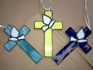 Stained Glass Cross Sun catcher Religious Dove Any Color