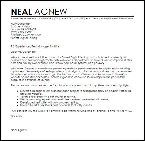 test manager cover letter sample cover letter templates