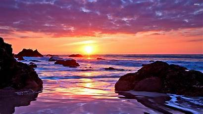 Sunset Desktop Computer Wallpapers Ocean Backgrounds Beach