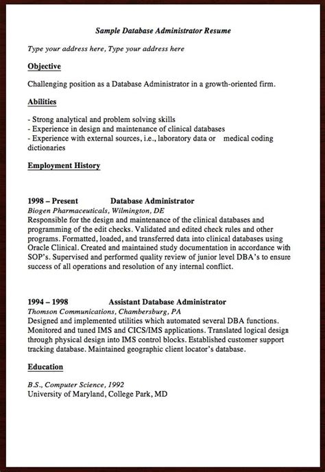 Database Administrator Resume Objective by 1000 Images About Free Resume Sle On