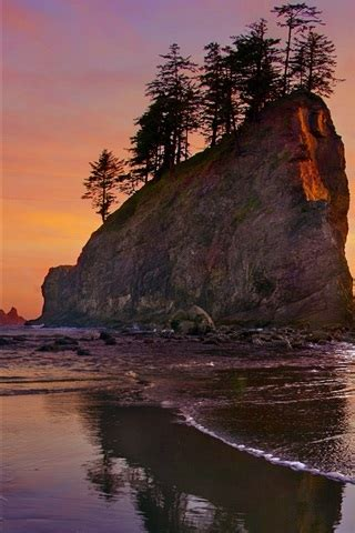 wallpaper beach sea coast sunset olympic national park