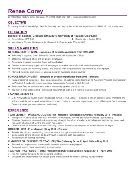 Resume For College Graduate by Recent College Graduate In Psychology Resume